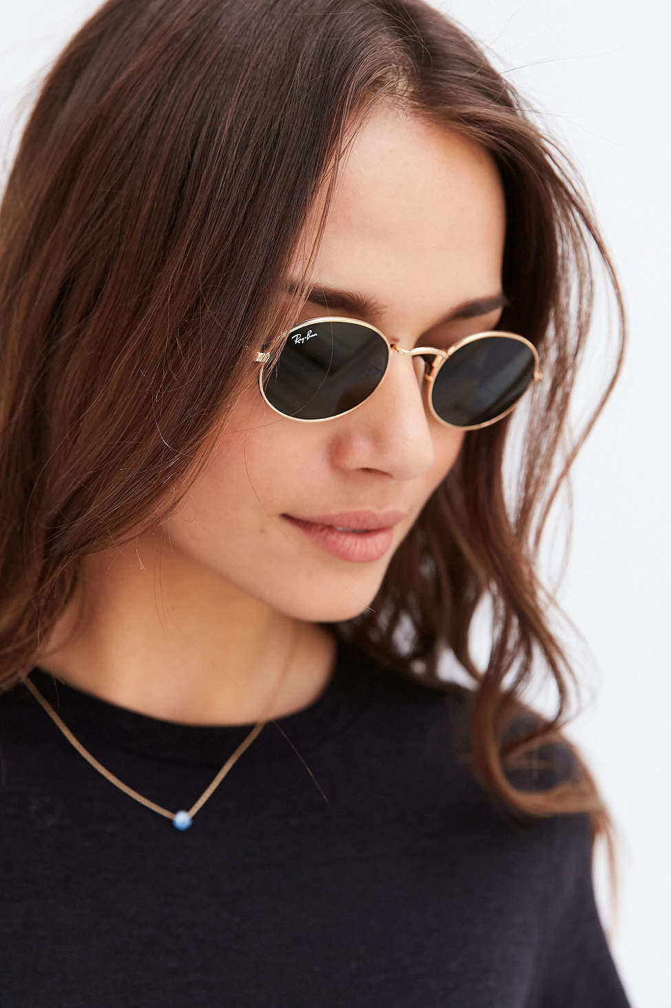 Lyst Ray Ban Icon Oval Flat Lens Sunglasses In Metallic