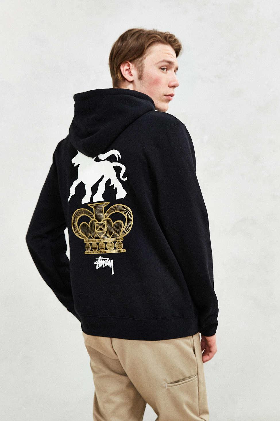 Stussy Lion Crown Hoodie Sweatshirt In Black For Men Lyst