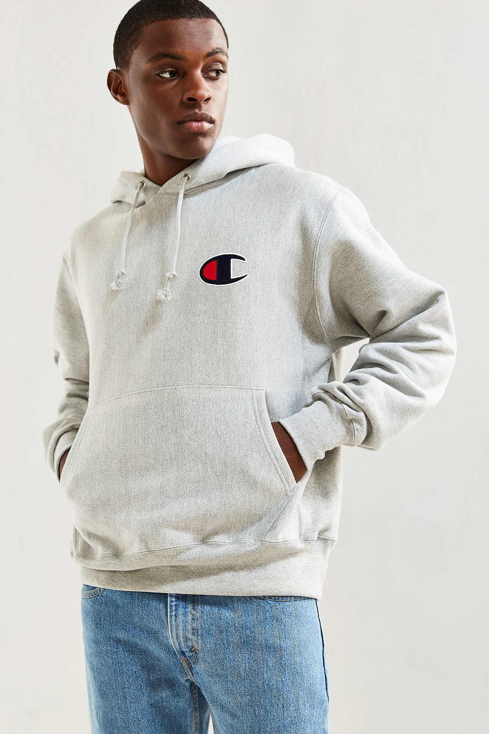20d23f950b4 Lyst - Champion Reverse Weave Large C Hoodie Sweatshirt in Gray for Men