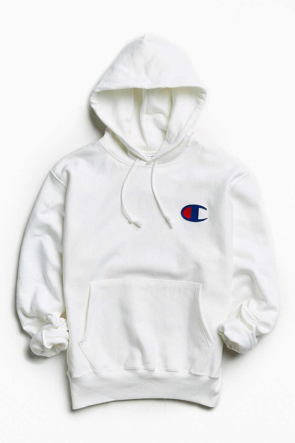 c830fad435 Champion Reverse Weave Large C Hoodie Sweatshirt in White for Men - Lyst