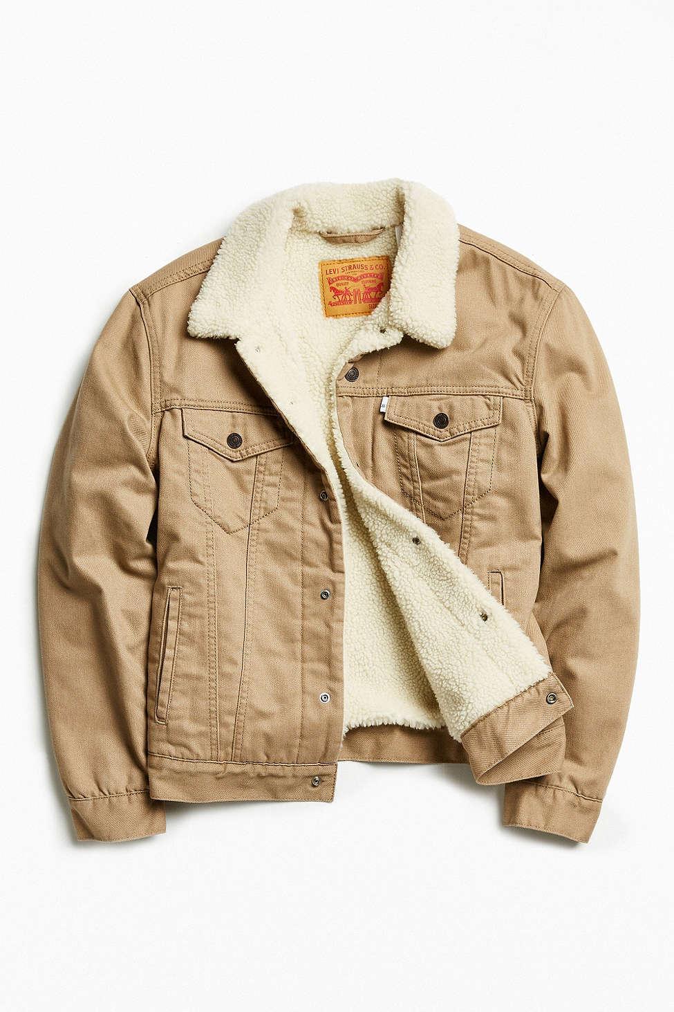 lyst levi 39 s flannel sherpa trucker jacket in gray for men. Black Bedroom Furniture Sets. Home Design Ideas