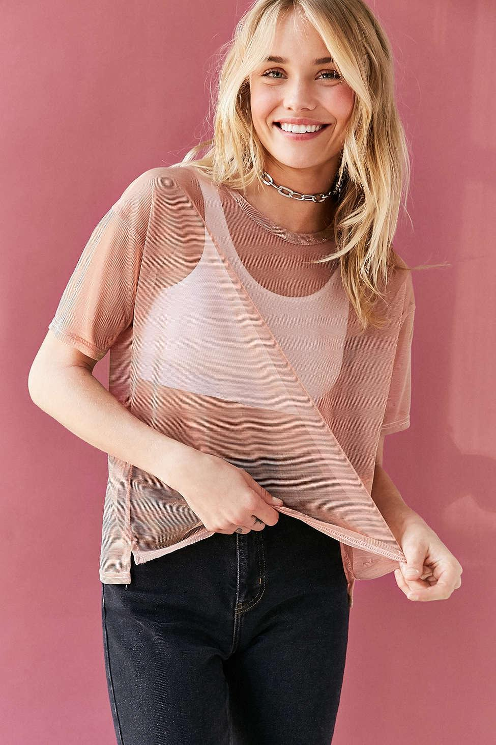 af5369aacd617 Lyst - Silence + Noise Metallic Shimmer Mesh Tee in Pink