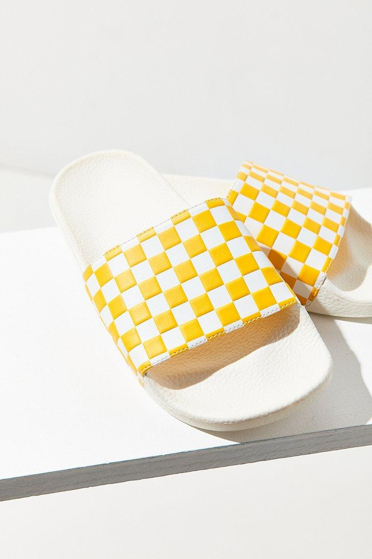 6fa37f1d016 Lyst - Vans Checkerboard Pool Slide in Yellow