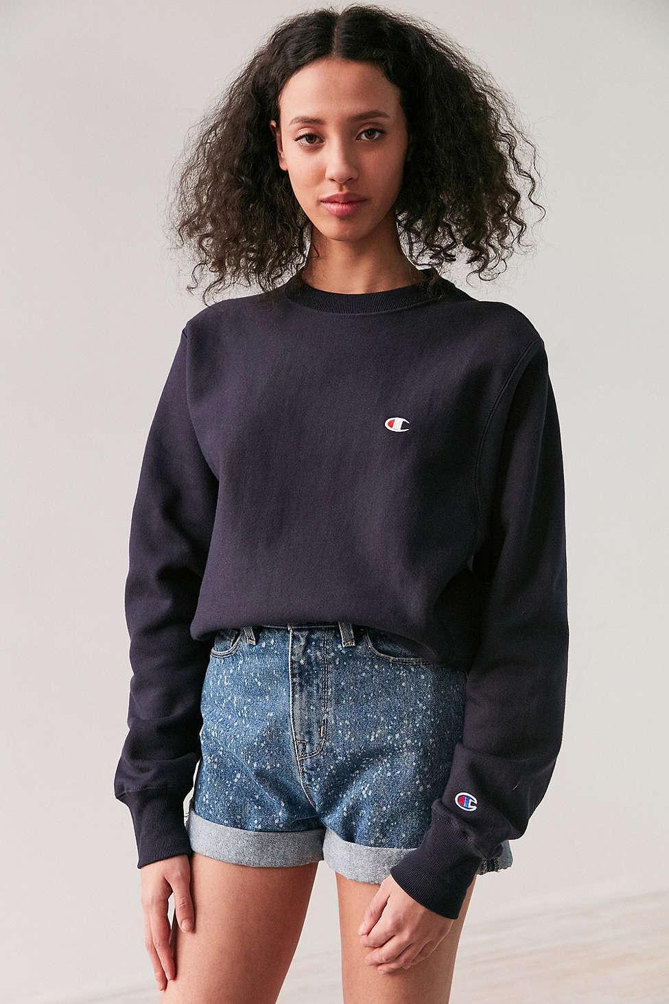 champion reverse weave pullover sweatshirt in blue lyst. Black Bedroom Furniture Sets. Home Design Ideas