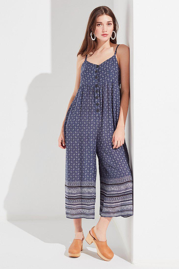 c7939406d61b Lyst - Urban Outfitters Uo Tootsie Button-down Cropped Jumpsuit in Blue