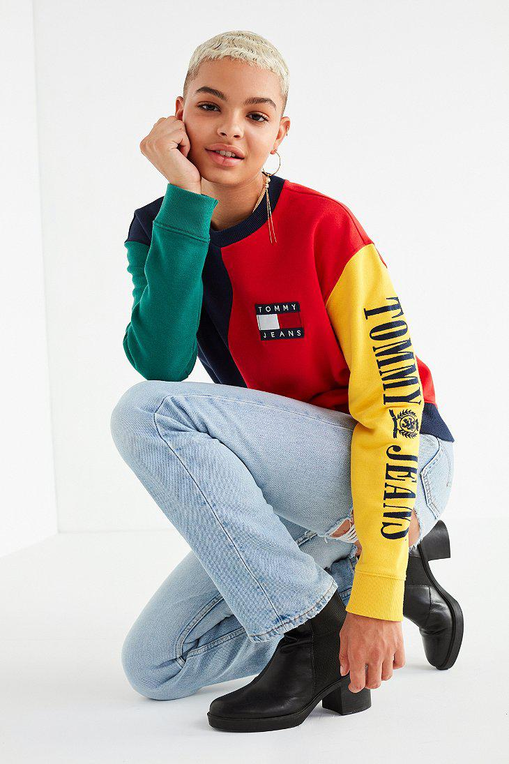21706634 Tommy Hilfiger Tommy Jeans '90s Colorblock Sweatshirt in Red - Lyst