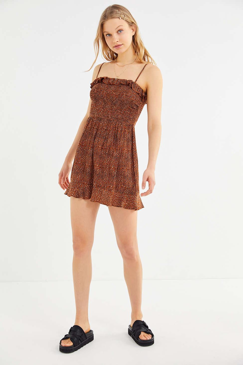 243a8db7f3f Lyst - Urban Outfitters Uo Sabrina Gauze Smocked Mini Dress in Brown