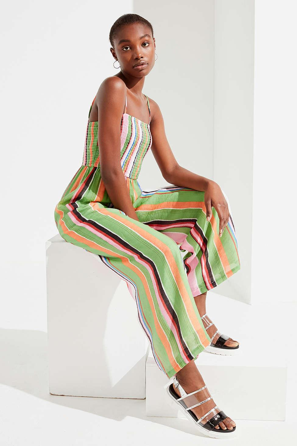 Urban Outfitters Uo Smocked Striped Jumpsuit Lyst