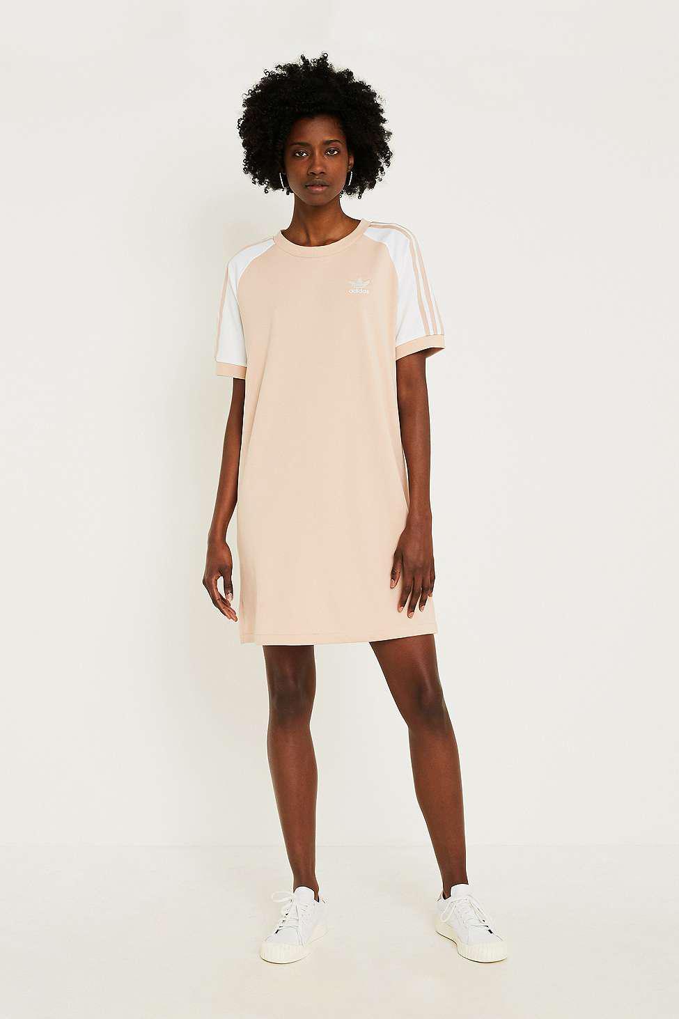 bd96e5961240a9 adidas Originals 3-stripe Pink Raglan Sleeve T-shirt Dress - Womens ...