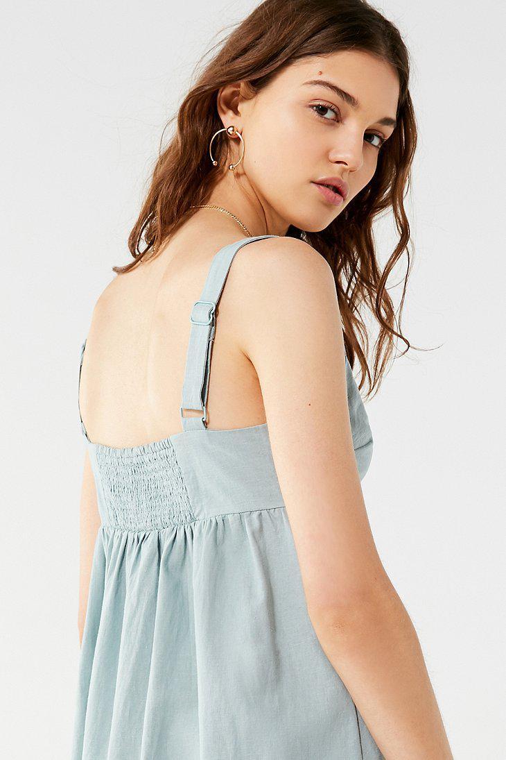 b1bebd45ee Lyst - Urban Outfitters Uo Deena Linen Button-down Midi Dress in Blue