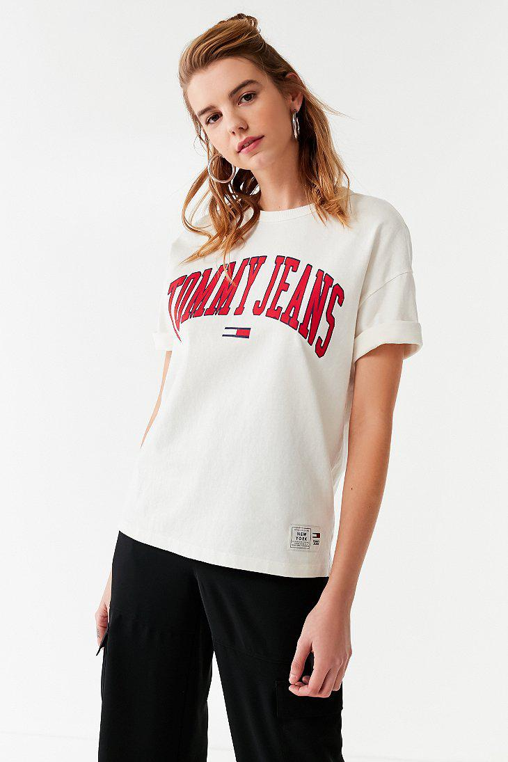 18c8ec90 Tommy Jeans Collegiate T Shirt Pink - Aztec Stone and Reclamations