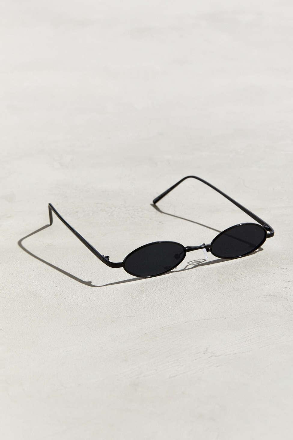 afd294b659 Lyst - Urban Outfitters Narrow Mini Wire Oval Sunglasses in Black ...