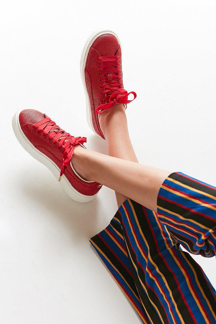 f8d25931855a27 Lyst - PUMA Basket Platform Lux Sneaker in Red