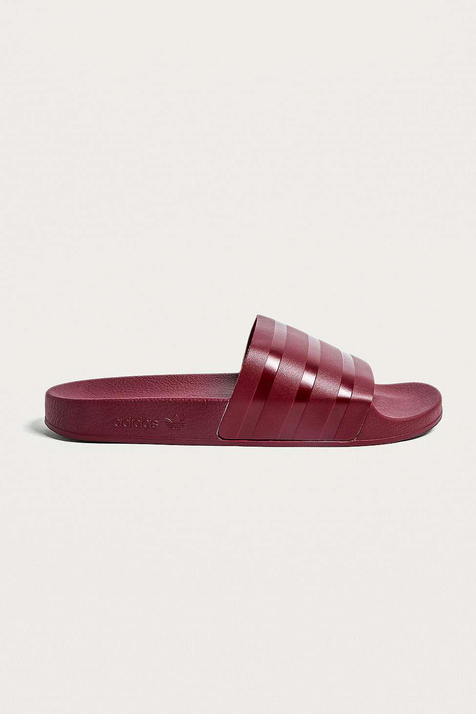 e6d6e85615a9 Adidas Adilette Burgundy Pool Sliders in Red for Men - Lyst