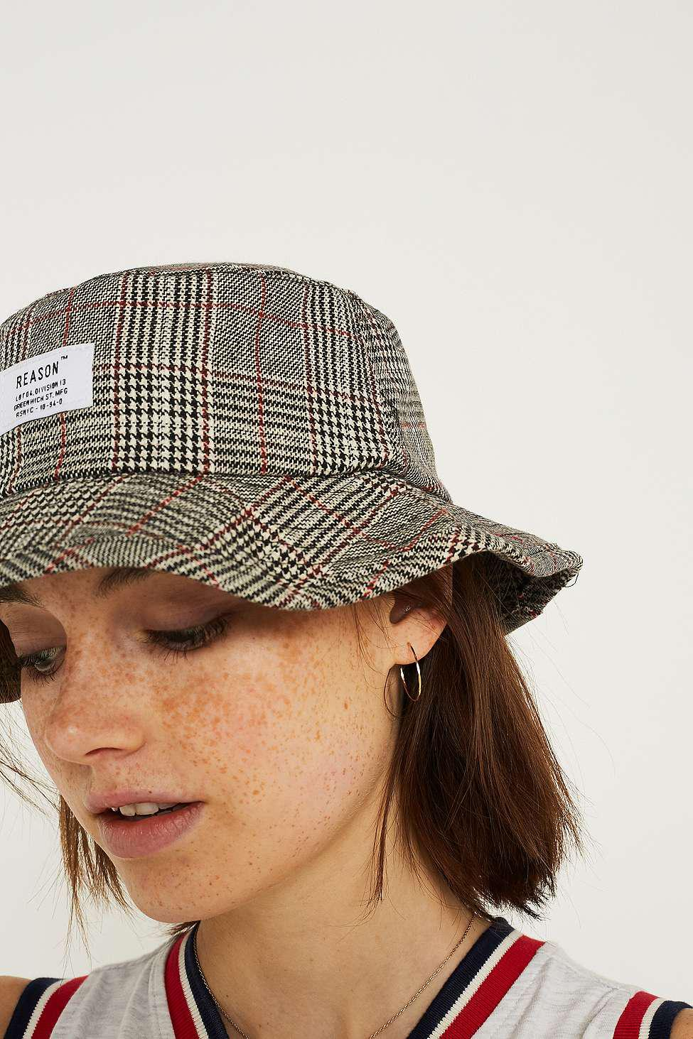 771f8b05c9ab3 Urban Outfitters Uo Reason Checked Bucket Hat - Womens All in Gray ...
