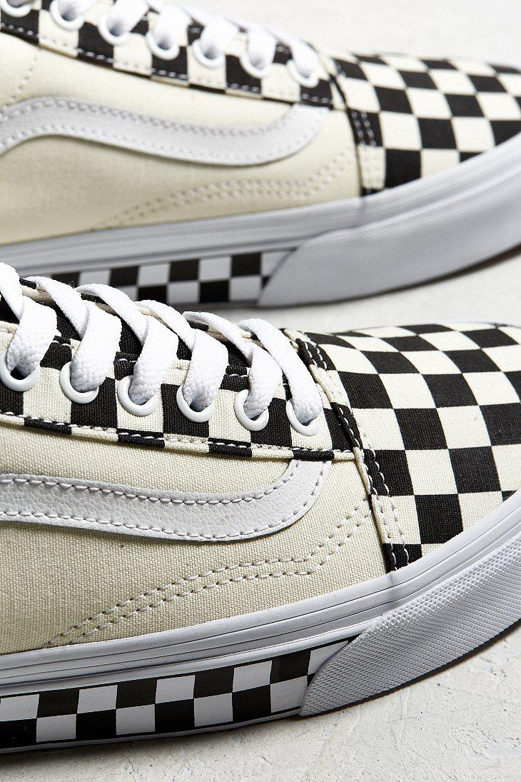 fc693ff2ceb Lyst - Vans Vans Old Skool Checkerboard Sidewall Sneaker in White