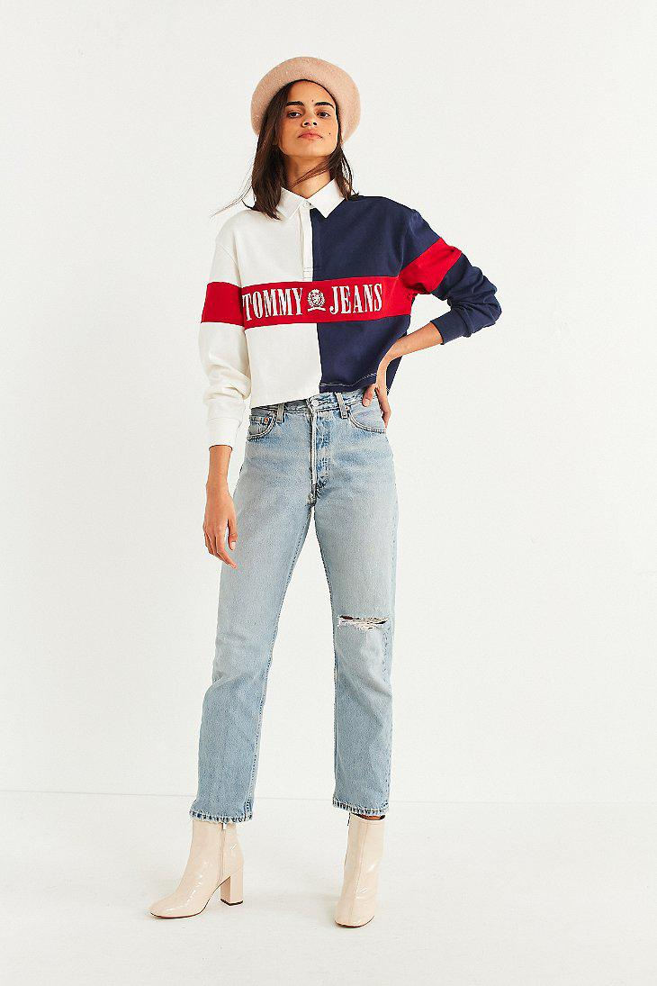 dc778172084 Tommy Hilfiger Tommy Jeans '90s Cropped Rugby Shirt - Lyst