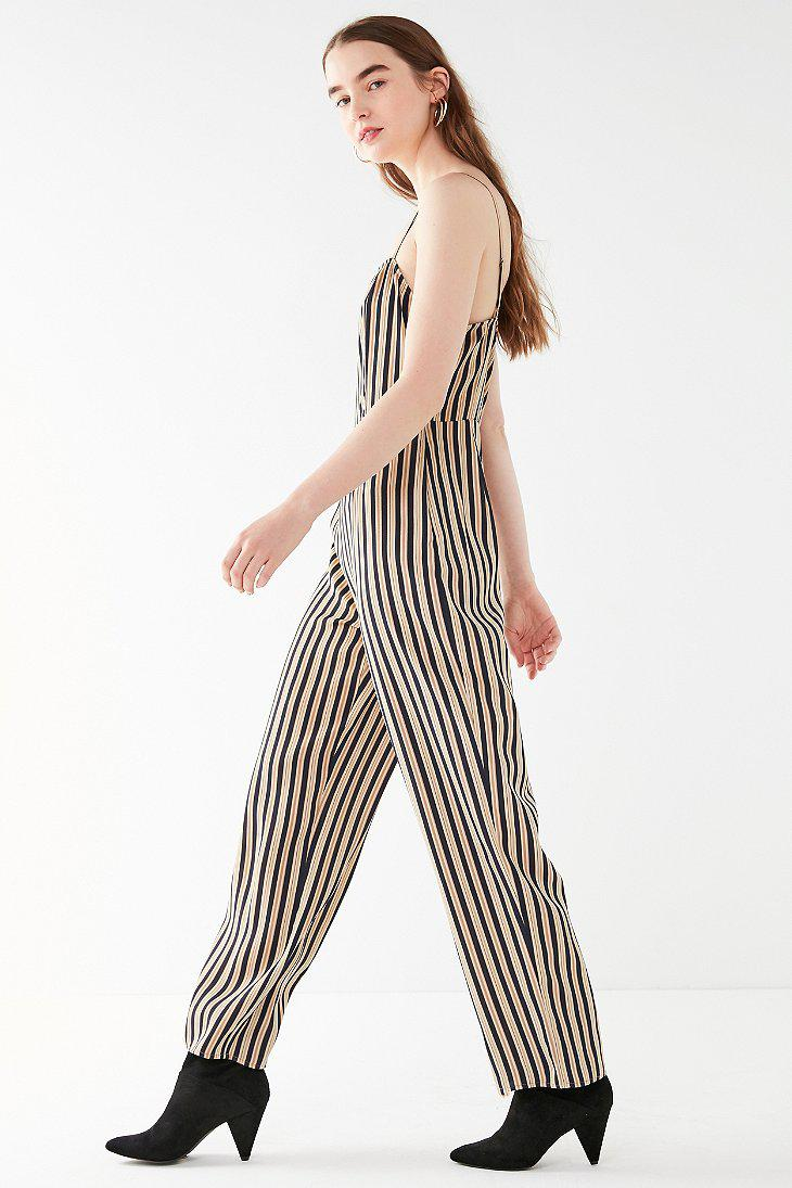 Lyst Urban Outfitters Uo Straight Neck Striped Jumpsuit In Blue