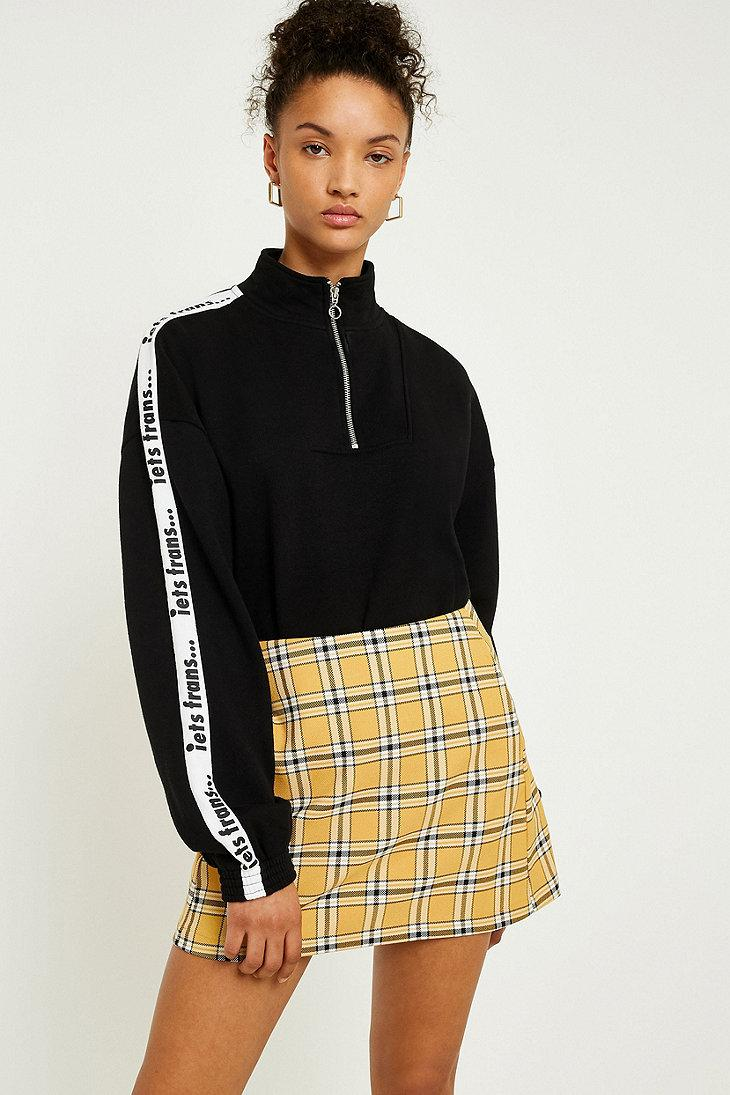 Lyst - Urban Outfitters Uo Mustard Yellow Checked Pelmet Skirt in Yellow