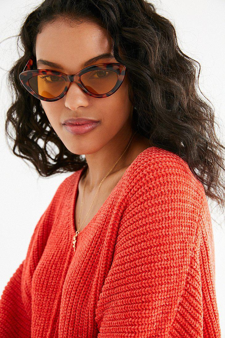 08f072508dfe7 Lyst - Urban Outfitters Extreme Angle Cat-eye Sunglasses in Brown