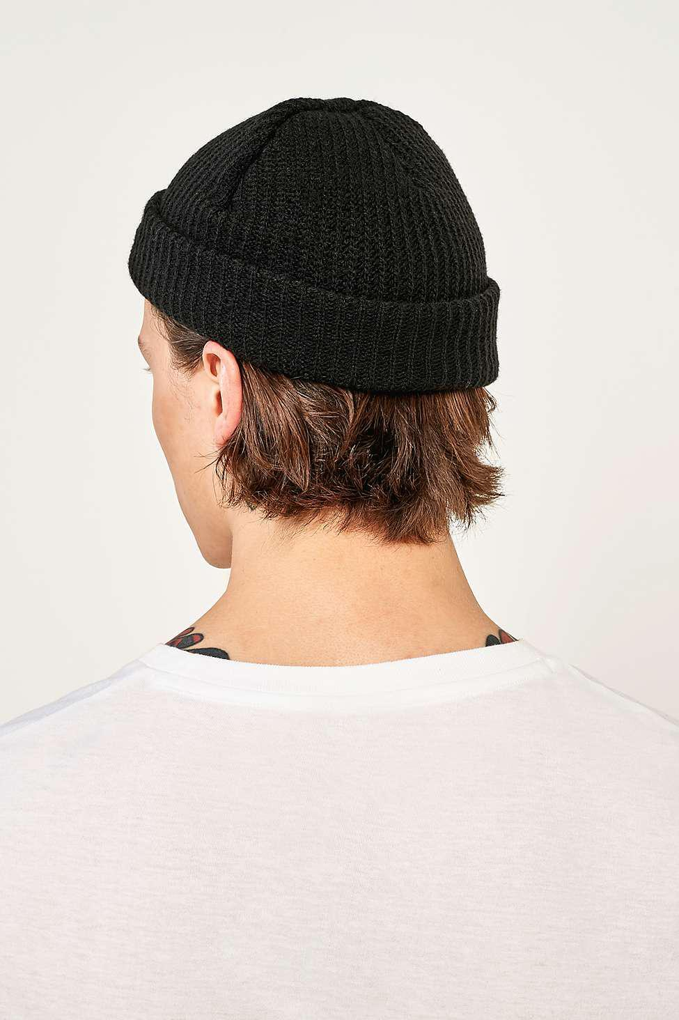 Urban Outfitters Uo Black Mini Roll Beanie - Mens All in Black for ... 5f17f5fac94
