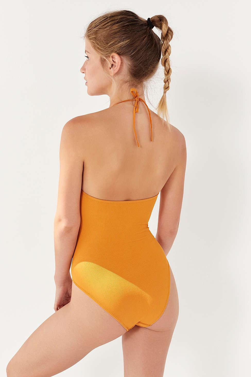 Lyst - Out From Under Bella Halter Bodysuit in Yellow 57b51a17d
