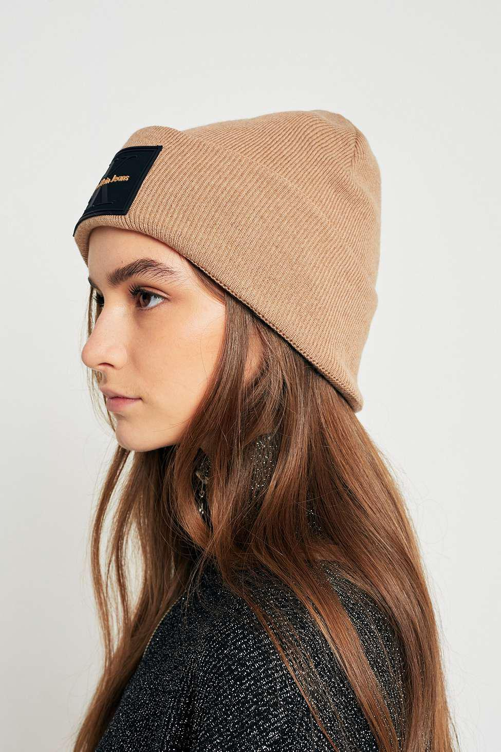 8b233e7829a Calvin Klein Jeans Re-issue Beanie - Womens All in Brown - Lyst