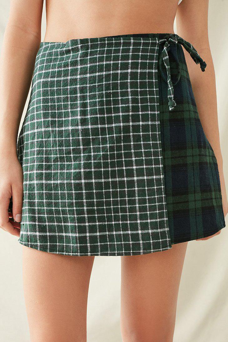 Women S Wool Cashmere Flannel Wrap Skirt In Navy
