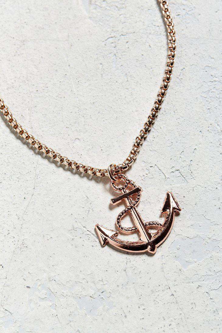 Lyst Urban Outfitters Uo Gold Anchor Pendant Necklace in Metallic