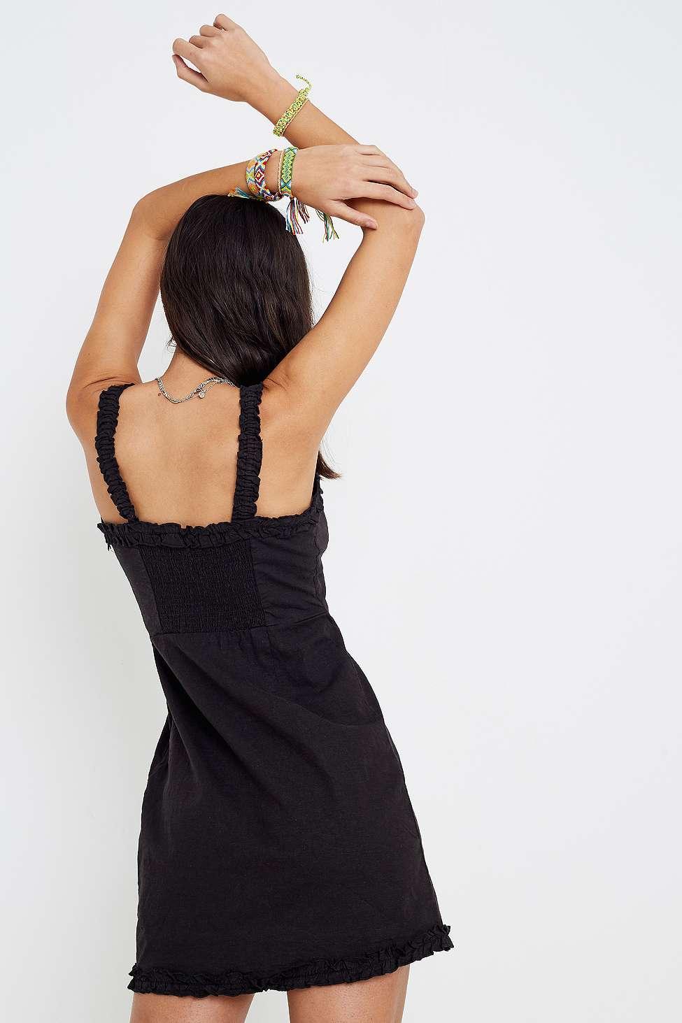 5bbfade5637 Urban Outfitters - Uo Wren Black Linen Ruffle Mini Dress - Womens Xs -  Lyst. View fullscreen