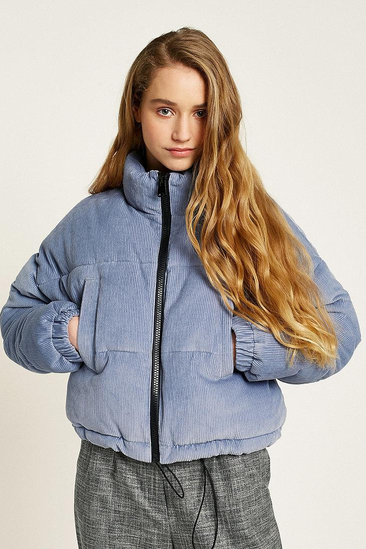 Lyst Urban Outfitters Uo Blue Corduroy Cropped Puffer