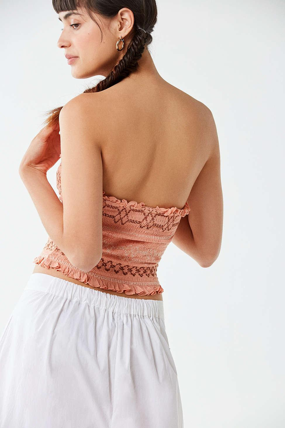 21d29db6a50 Urban Outfitters Uo Moko Smocked Tube Top in Pink - Lyst