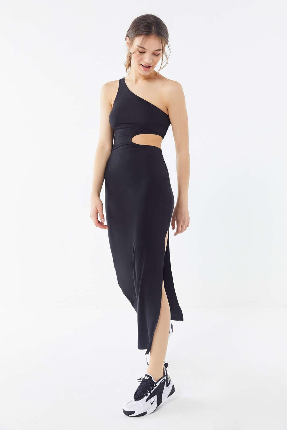 330471c4e7c Lyst - Urban Outfitters Uo Tony Cutout One-shoulder Midi Dress in Black