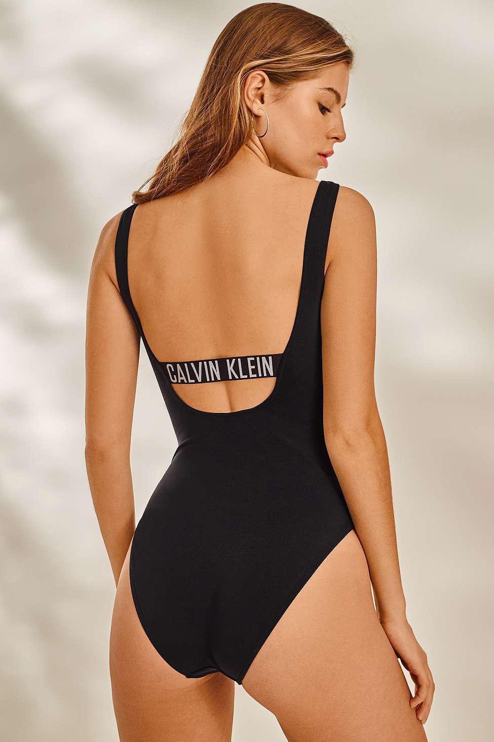 f5d0c4a6a8886 Calvin Klein Intense Power Black Square Scoop One-piece Swimsuit ...