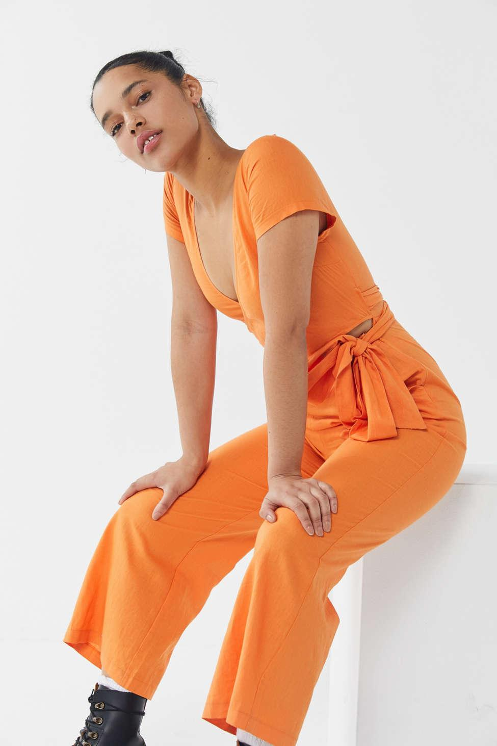 e334becd5cd Lyst - Urban Outfitters Uo Keira Linen Wrap Detail Jumpsuit in Orange