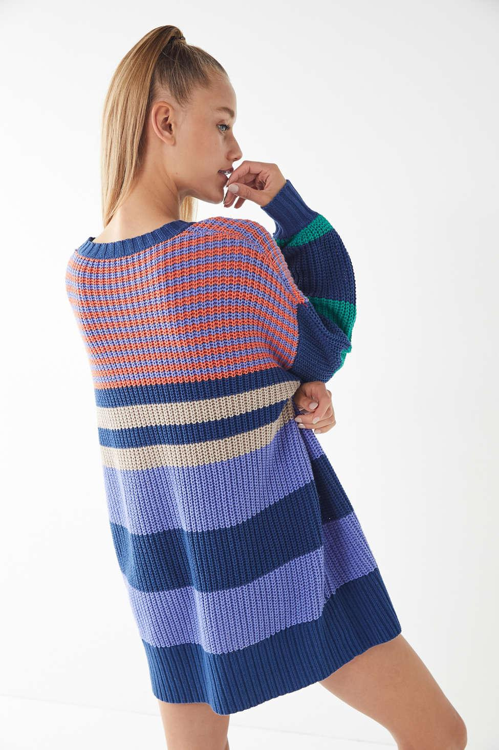 f24f36be58 Lyst - Urban Outfitters Uo Whistler Striped Sweater Dress in Blue