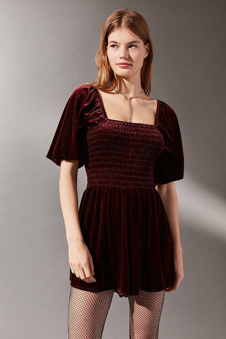 96181ba0b66 Lyst - Urban Outfitters Uo Patsy Smocked Velvet Romper in Black
