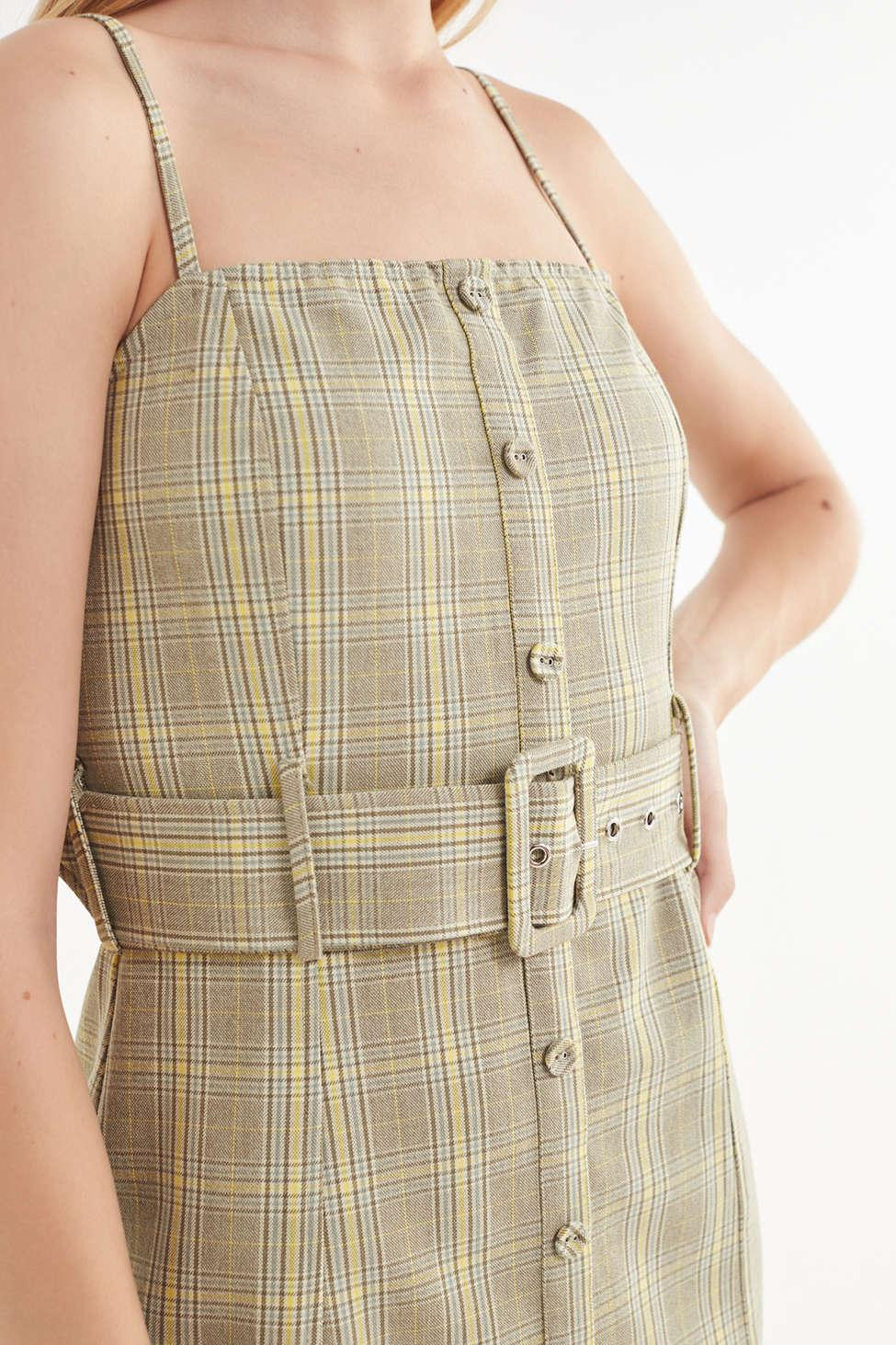 4a435d4a4ed2 Lyst - Urban Outfitters Uo Belted Gingham Button-down Mini Dress in ...
