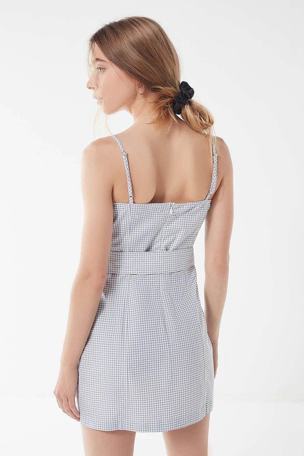 e2f2c91944d9 Lyst - Urban Outfitters Uo Belted Gingham Mini Dress in Blue