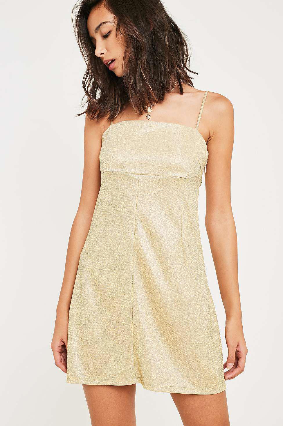 25f1c403c1d1e Urban Outfitters Uo Moonbeam Gold Metallic Slip Dress - Womens Xs in ...