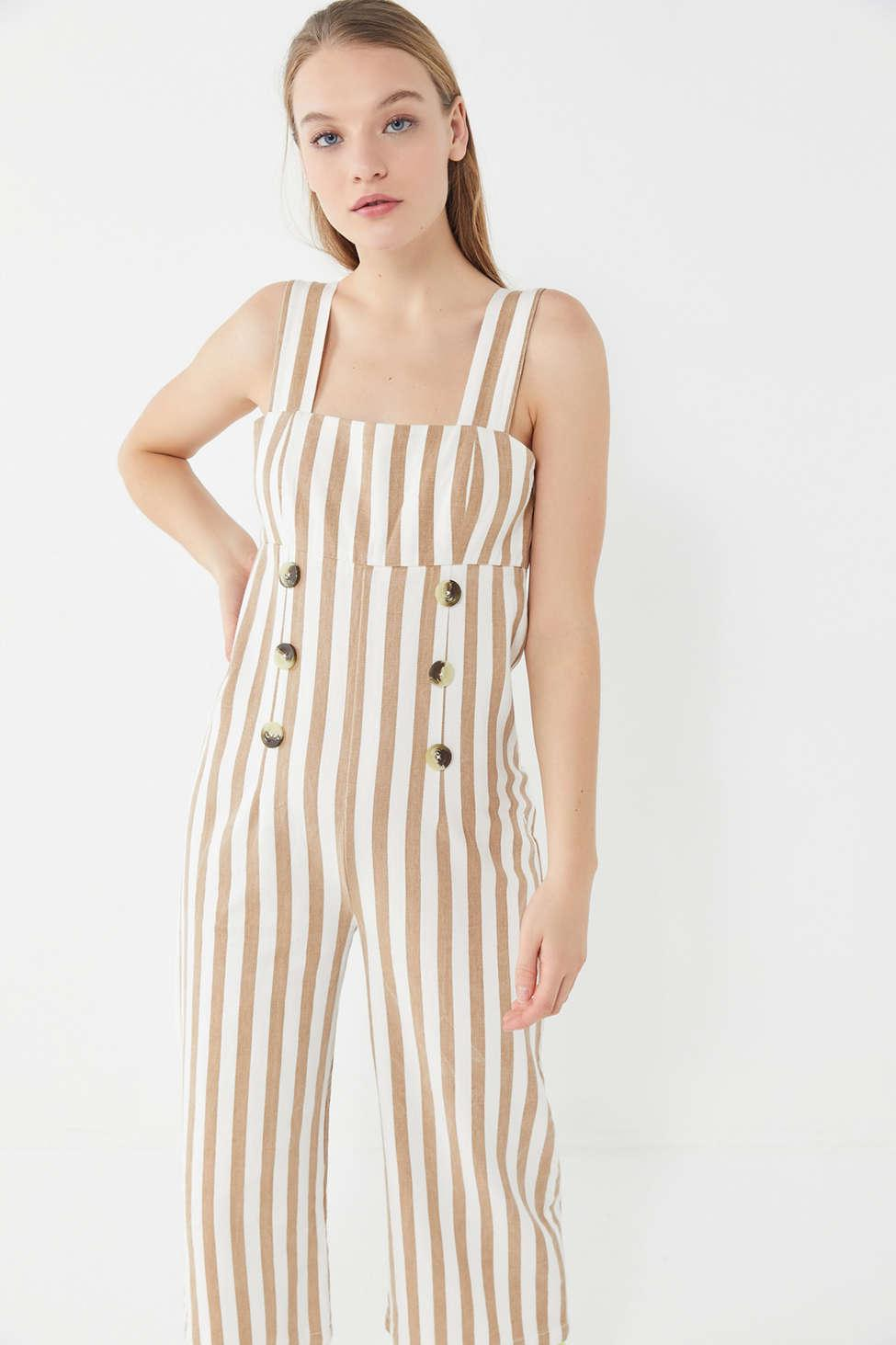 b57ed597e507 Urban Outfitters - Multicolor Uo Murphy Striped Button-front Cropped  Jumpsuit - Lyst. View fullscreen