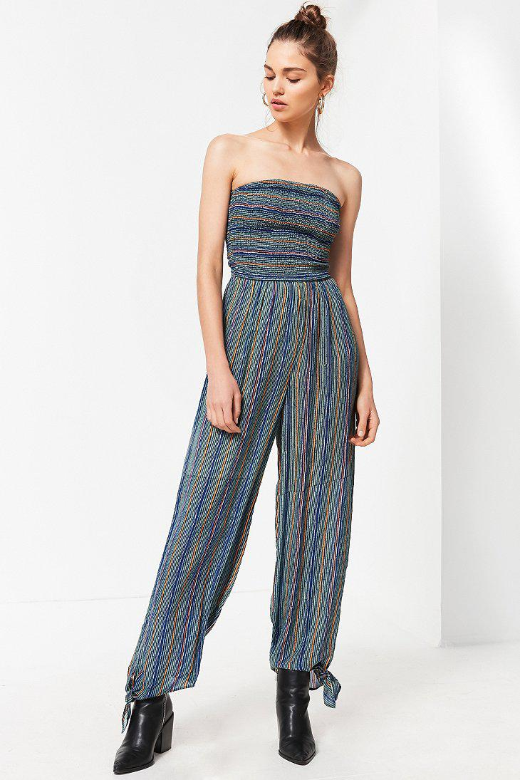 5515d811723 Lyst - Urban Outfitters Uo Strapless Smocked Jumpsuit in Blue