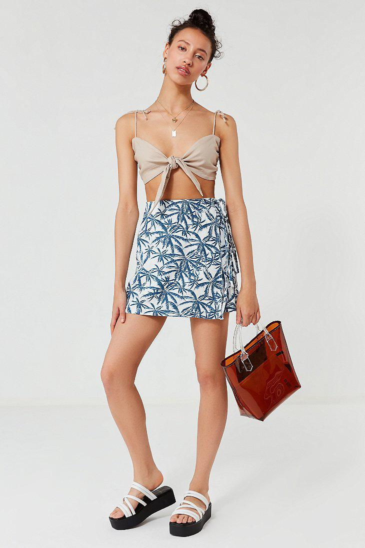 7b9b1c0894 Lyst - Urban Outfitters Uo Linen Palm Tree Wrap Mini Skirt in Blue