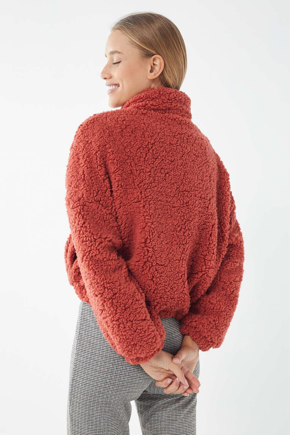 Urban Outfitters Uo Willow Fuzzy Drawstring Teddy Jacket In Red Lyst