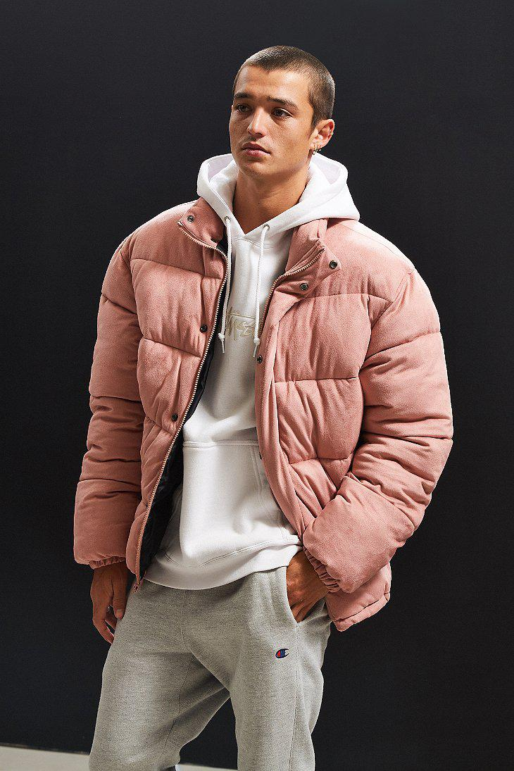 Lyst Urban Outfitters Uo Puffer Jacket In Pink For Men