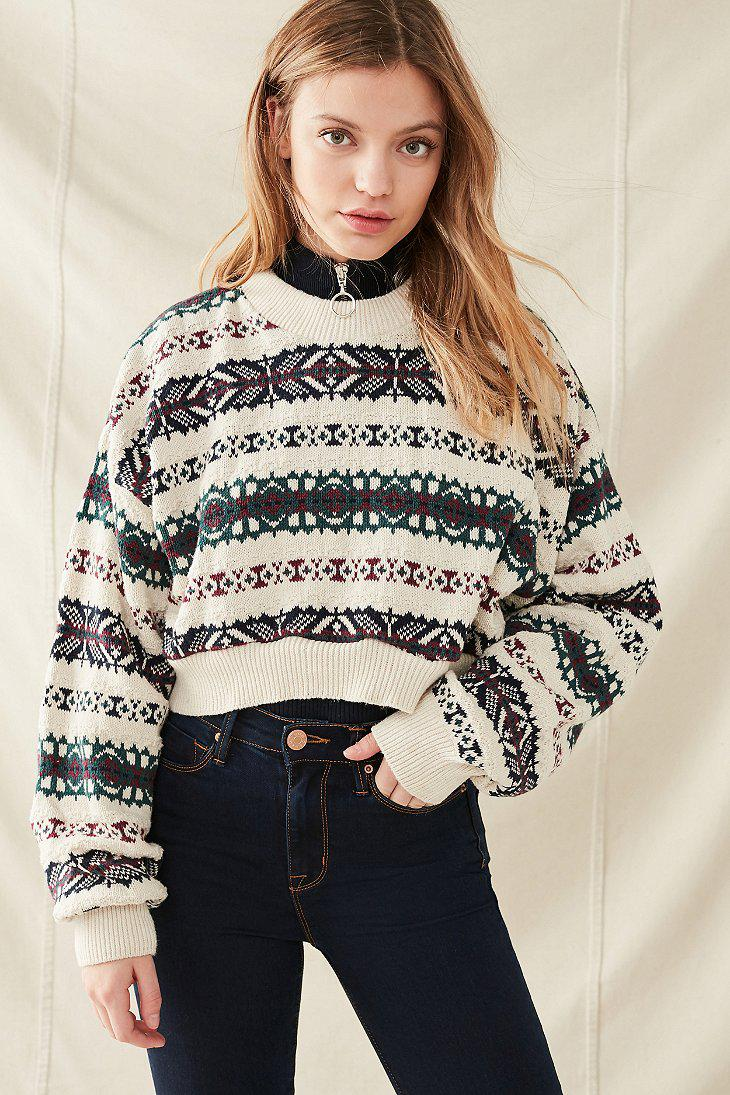Urban outfitters Urban Renewal Recycled Cropped Fair Isle Sweater ...