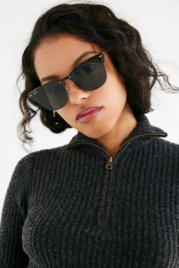 b1c88428d38 Lyst - Ray-Ban Ray-ban Blaze Clubmaster Shield Sunglasses in Black RAY-BAN  - Urban Outfitters