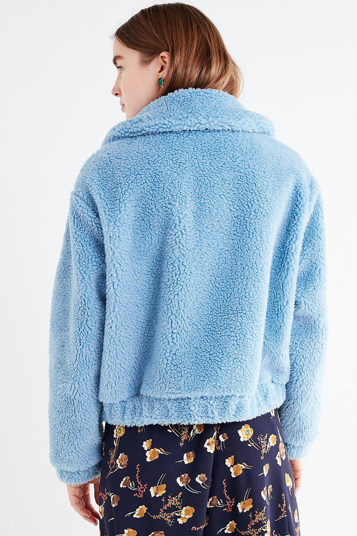 Lyst Urban Outfitters Uo Cropped Teddy Jacket In Blue