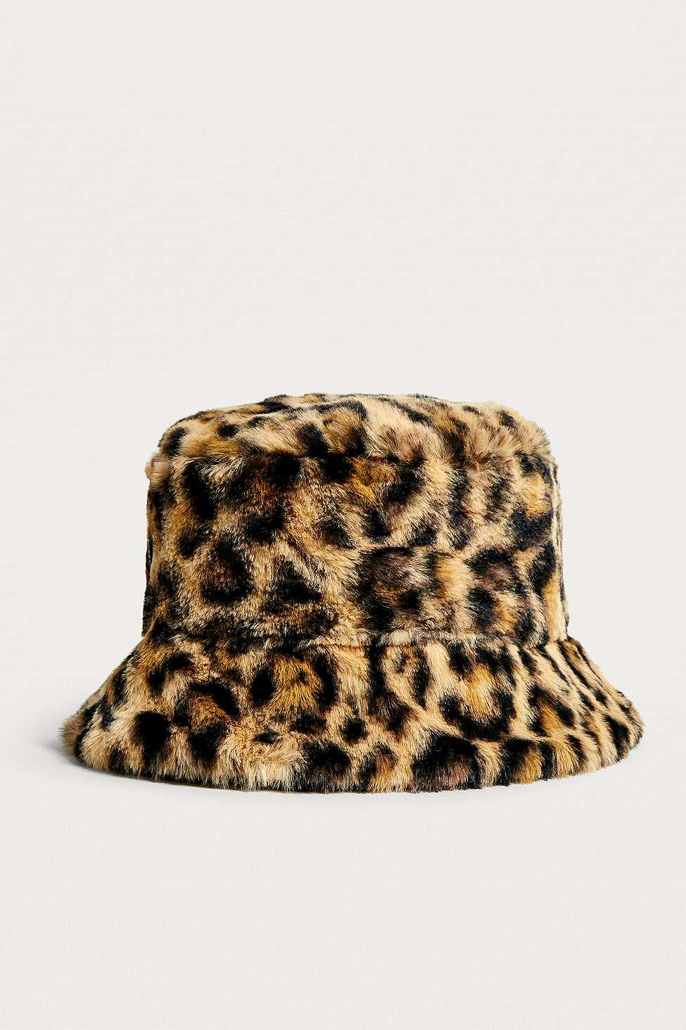 Urban Outfitters Uo Reversible Leopard Print Faux Fur Bucket Hat ... f6ade693b1a