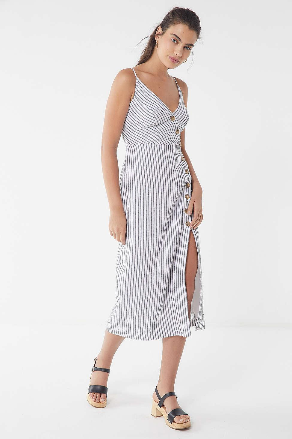 6c55d126e1da Lyst - Urban Outfitters Uo Amber Button-down Linen Midi Dress in Gray